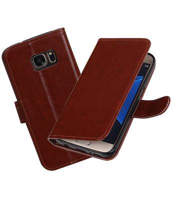 Bruin Portemonnee booktype Hoesje voor Samsung Galaxy S7 G930F