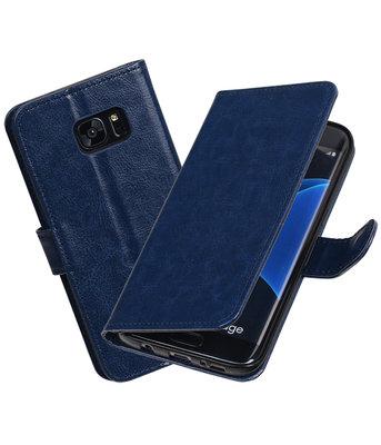 Donker Blauw Portemonnee booktype Hoesje voor Samsung Galaxy S7 Edge