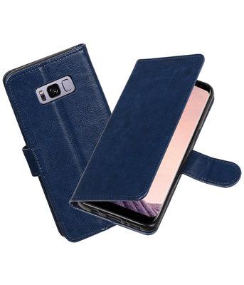 Donker Blauw Portemonnee booktype Hoesje voor Samsung Galaxy S8+ plus
