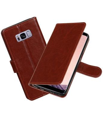 Bruin Portemonnee booktype Hoesje voor Samsung Galaxy S8+ plus