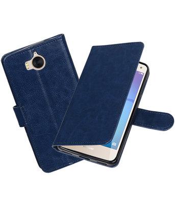 Donker Blauw Portemonnee booktype hoesje Huawei Y5 2017 / Y6 2017