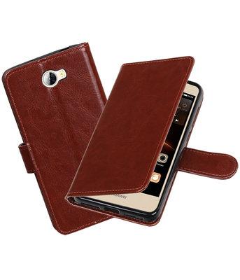 Bruin Portemonnee booktype Hoesje voor Huawei Y5 II