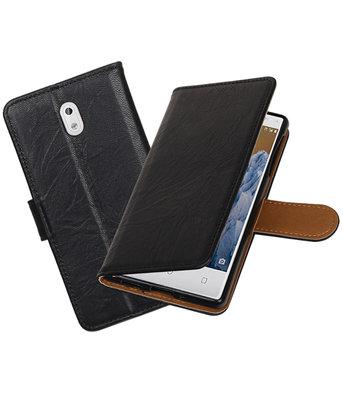Hoesje voor Nokia 3 Echt Leer Leder booktype Zwart
