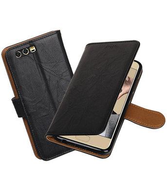 Hoesje voor Huawei Honor 9 Echt Leer Leder booktype Zwart