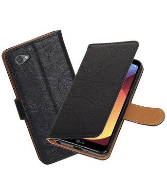 Hoesje voor LG Q8 Echt Leer Leder booktype Zwart