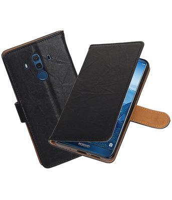 Hoesje voor Huawei Mate 10 Pro Echt Leer Leder booktype Zwart