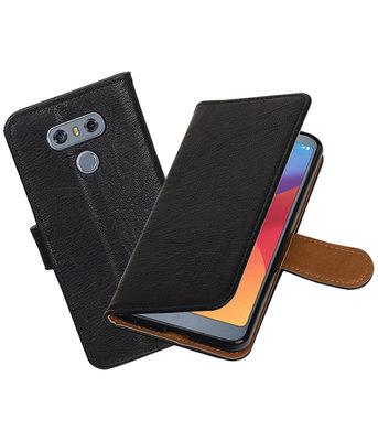 LG G6 Echt Leer Leder booktype hoesje Zwart