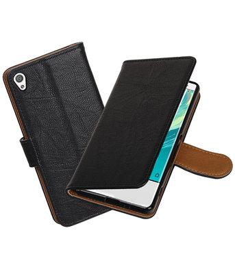 Hoesje voor Sony Xperia XA Echt Leer Leder booktype Zwart