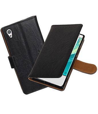 Hoesje voor Sony Xperia XA1 Echt Leer Leder booktype Zwart