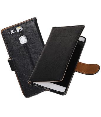 Huawei P9 Lite mini Echt Leer Leder booktype hoesje Zwart
