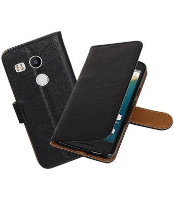 Zwart Echt Leer Booktype LG Nexus 5X Wallet Cover Hoesje