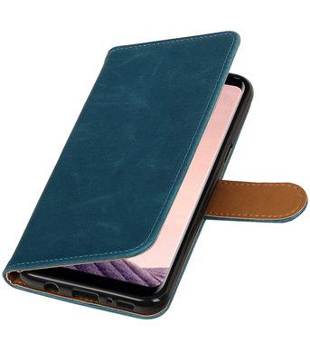 Hoesje voor LG Q8 Pull-Up booktype blauw