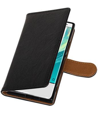 Hoesje voor Sony Xperia XZ1 Echt Leer Leder booktype Zwart