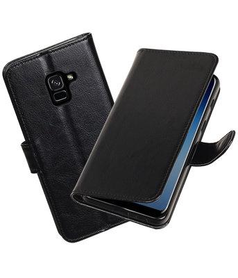 Zwart Portemonnee booktype Hoesje voor Samsung Galaxy A8 Plus 2018