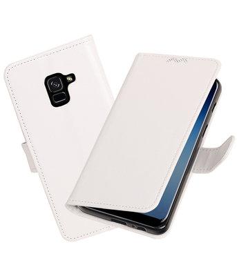 Wit Portemonnee booktype Hoesje voor Samsung Galaxy A8 Plus 2018