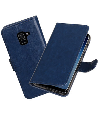 Donker Blauw Portemonnee booktype Hoesje voor Samsung Galaxy A8 Plus 2018