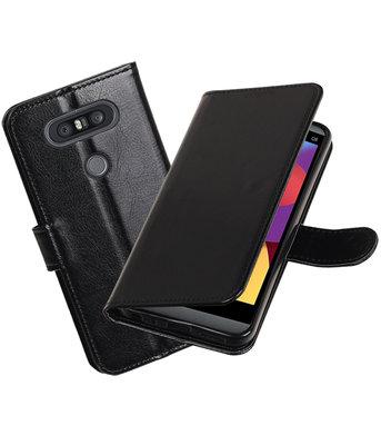 Zwart Portemonnee booktype Hoesje voor LG Q8