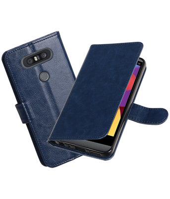 Donker Blauw Portemonnee booktype Hoesje voor LG Q8