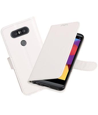 Wit Portemonnee booktype Hoesje voor LG Q8