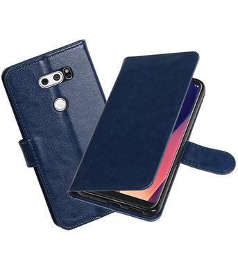 Donker Blauw Portemonnee booktype Hoesje voor LG V30