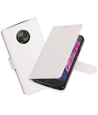 Wit Portemonnee booktype Hoesje voor Motorola Moto X4