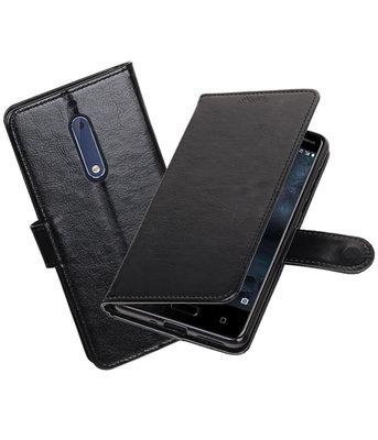 Zwart Portemonnee booktype Hoesje voor Nokia 5