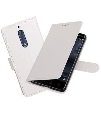 Wit Portemonnee booktype Hoesje voor Nokia 5