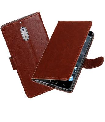 Bruin Portemonnee booktype Hoesje voor Nokia 6