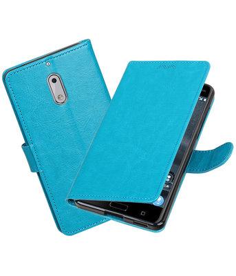 Turquoise Portemonnee booktype Hoesje voor Nokia 6