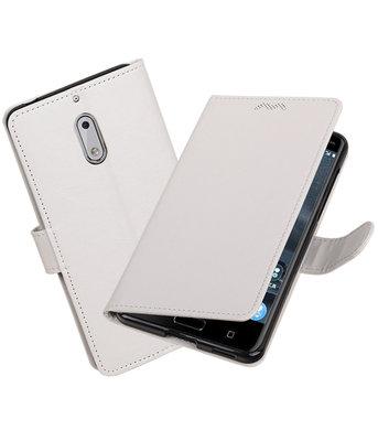 Wit Portemonnee booktype Hoesje voor Nokia 6