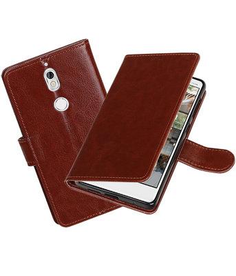 Bruin Portemonnee booktype Hoesje voor Nokia 7