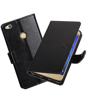 Zwart Portemonnee booktype Hoesje voor Huawei P8 Lite 2017
