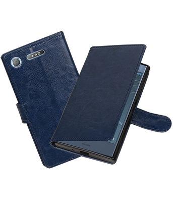 Donker Blauw Portemonnee booktype Hoesje voor Sony Xperia XZ1
