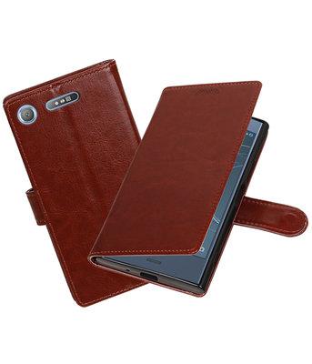 Bruin Portemonnee booktype Hoesje voor Sony Xperia XZ1