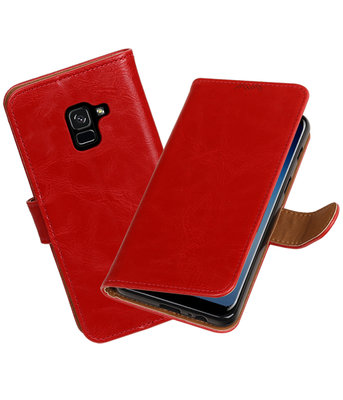 Hoesje voor Samsung Galaxy A8 2018 Pull-Up booktype rood