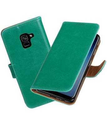 Hoesje voor Samsung Galaxy A8 2018 Pull-Up booktype groen