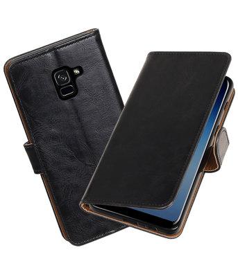 Hoesje voor Samsung Galaxy A8 Plus 2018 Pull-Up booktype zwart