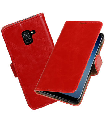 Hoesje voor Samsung Galaxy A8 Plus 2018 Pull-Up booktype rood