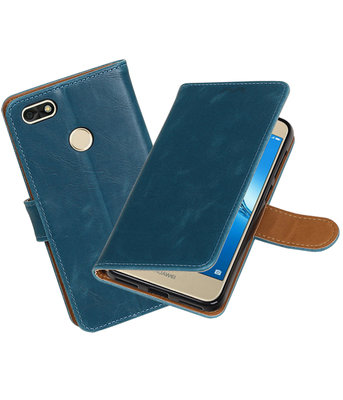 Huawei P9 Lite mini Pull-Up booktype hoesje blauw