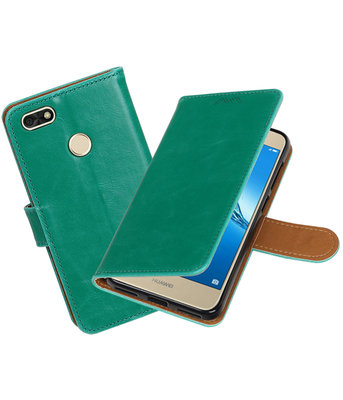 Hoesje voor Huawei P9 Lite mini / Y6 Pro 2017 Pull-Up booktype groen