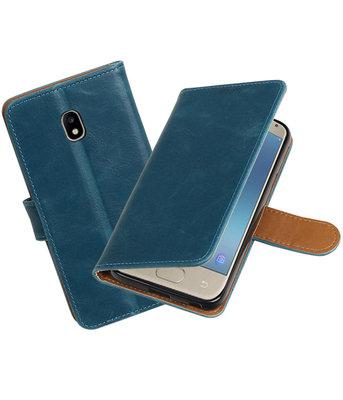 Hoesje voor Samsung Galaxy J3 2017 J330F Pull-Up booktype blauw
