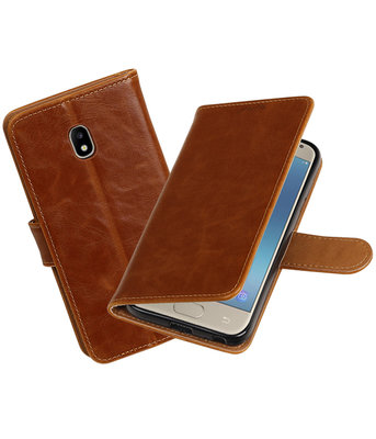 Hoesje voor Samsung Galaxy J3 2017 J330F Pull-Up booktype bruin