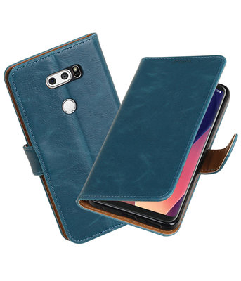 Hoesje voor LG V30 Pull-Up booktype blauw