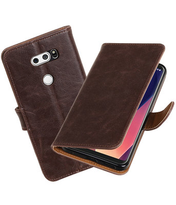 Hoesje voor LG V30 Pull-Up booktype mocca