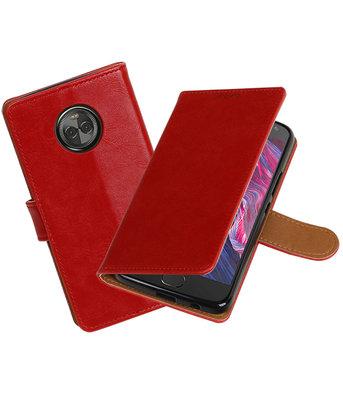 Hoesje voor Motorola Moto X4 Pull-Up booktype rood