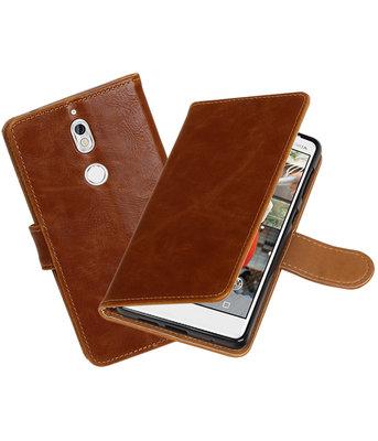 Hoesje voor Nokia 7 Pull-Up booktype bruin