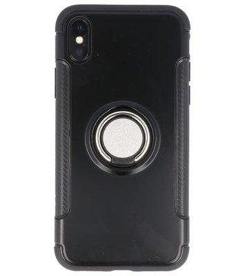 Hoesje voor Apple iPhone X Pantser TPU met Ringhouder Zwart