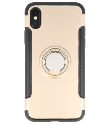 Apple iPhone X Pantser TPU hoesje met Ringhouder Goud