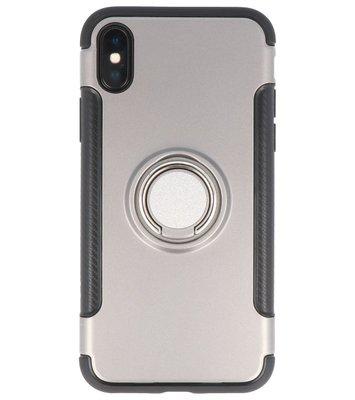 Hoesje voor Apple iPhone X Pantser TPU met Ringhouder Grijs