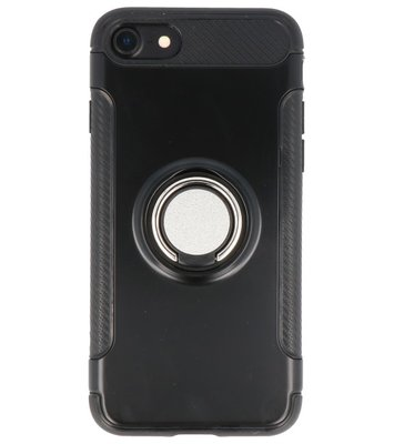 Hoesje voor Apple iPhone 7 / 8 Pantser TPU met Ringhouder Zwart